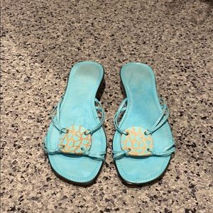 Turquoise sandals slip on